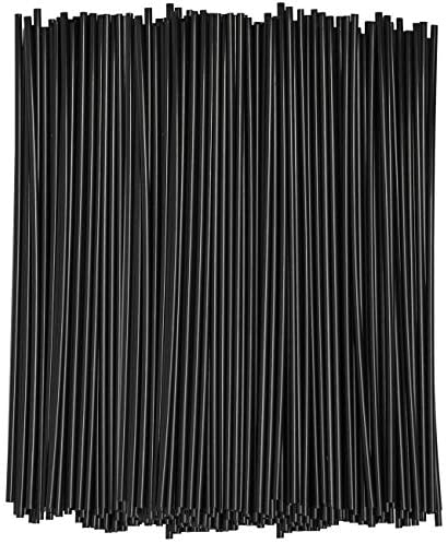 [1000 Bulk Pack] 7 Inch Plastic Sip Stirrers/Straws – Disposable Stir Sticks for Coffee & Cocktail – Black