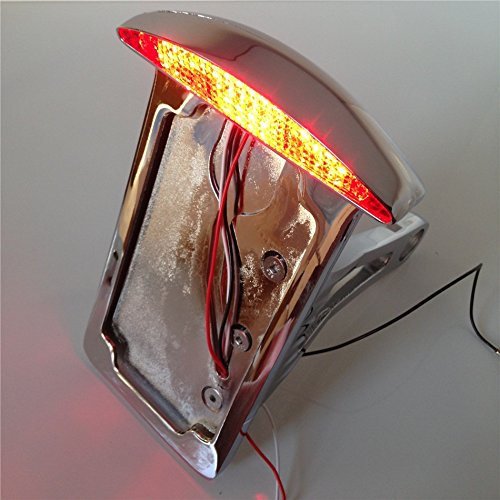 Motorcycle Chrome License Plate Assembly Led Tail Brake Light For Side Mounted Verticle