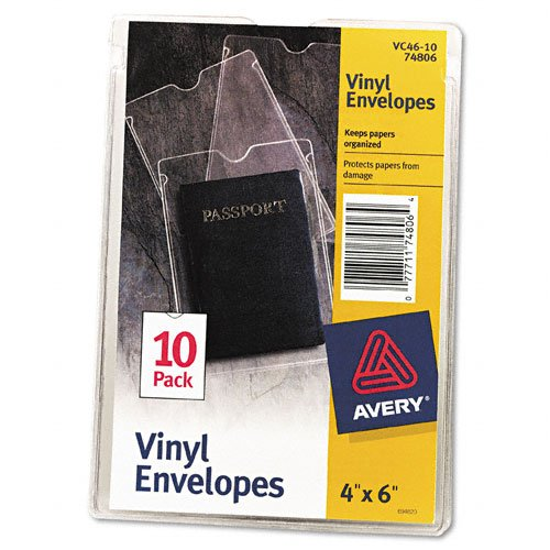 New AVE74806 - Avery Top-Load Clear Vinyl Envelopes w/Thumb Notch