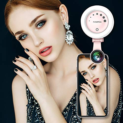 Selfie Ring Light, MixMart Selfie LED Camera with 3 Light Modes 7 Levels of Brightness for Phone/Tablet/iPad/Laptop (Pink)