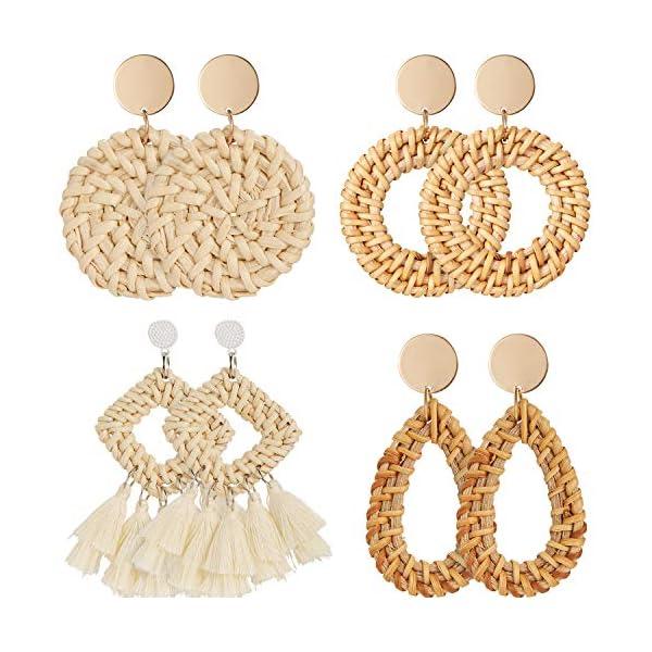 4 Pairs Rattan Earrings Lightweight Geometric Statement Tassel Woven Bohemian Earrings Handmade Straw Wicker Braid Hoop Drop Dangle Earrings For Women Girls (Style A)