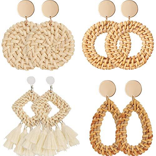 4 Pairs Rattan Earrings Lightweight Geometric Statement Tassel Woven Bohemian Earrings Handmade Straw Wicker Braid Hoop Drop Dangle Earrings for Women Girls