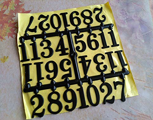 Maslin 10Sets 3cm Plastic Adhesive Clock Numbers Black Arabic Numbers for Clock Accessories