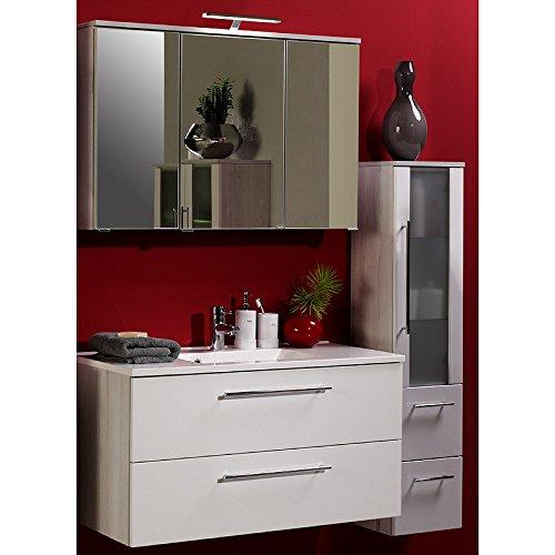 Waschplatz Set Hochglanz wei Badmbel Waschtisch Badezimmer LED Spiegelschrank