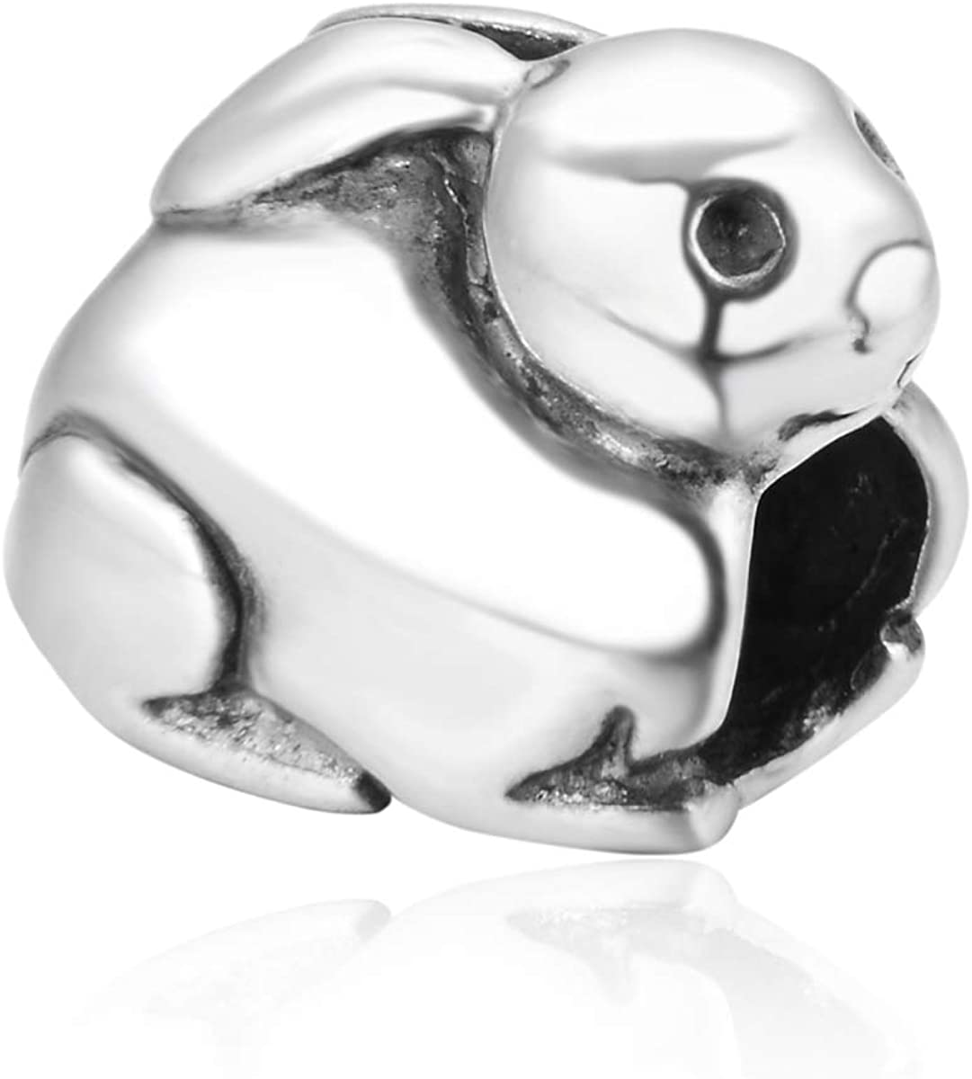 925 Sterling Silver Rabbit Charm Easter Bunny Animal Bead Fits All Charm Bracelet Necklace Women Birthday Gift Compatible with Pandora EC163