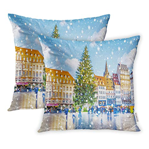 Emvency Set of 2 18x18 Inch Throw Pillow Covers Cases Christmas Tree and Xmas Market at Kleber in Medieval City of Strasbourg Capital Noel Alsace France Case Cover Cushion Two Sided (Best Xmas Markets In Europe)