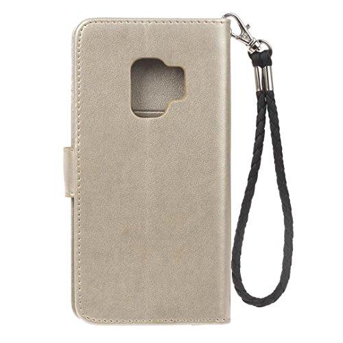 Galaxy S9Plus móvil, cowx Teléfono Móvil para Samsung Galaxy S9Plus Carcasa Piel Flip Case Cartera Funda Carcasa para Samsung S9Plus Funda Cover búho (Oro)