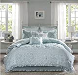 9 Piece French Country Inspired Comforter Set King Size, Featuring Floral Ruffles Bordered Design Comfortable Bedding, Stylish Cottage Chic Girls Teens Bedroom Decoration, Green, White, Multi