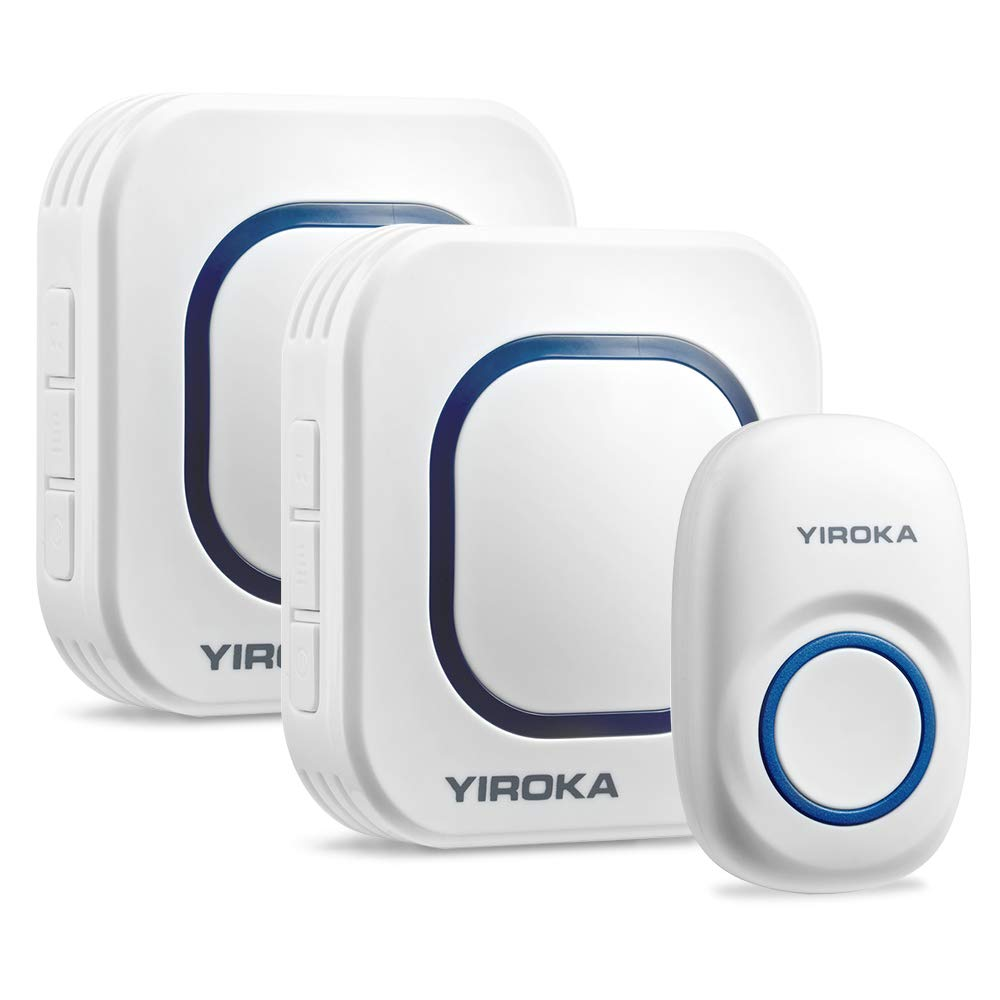 YIROKA Wireless Doorbell Operating range up to 500-feet,No Batteries Required,58pcs music for Chosen,4 Grade volume,1 Door Chime Sensor & 2 Receivers (1 Self-powered Button + 2 Receiver)