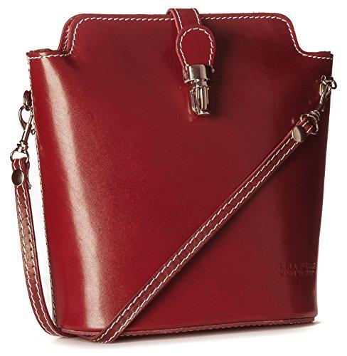 BHBS Kleine Damen Schulter Handtasche hergestellt aus echtem Leder über Körper 23 x 20 x 8.5 cm (B x H x T) - Red