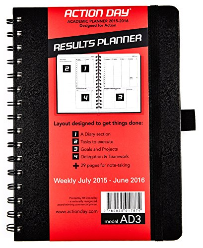 Action Day Academic Weekly Planner 2015-2016 - Size 6x8 - (Student Planner / Teacher Planner / Daily Calendar / Day Planner / Weekly Diary / Monthly Planner / Task List)