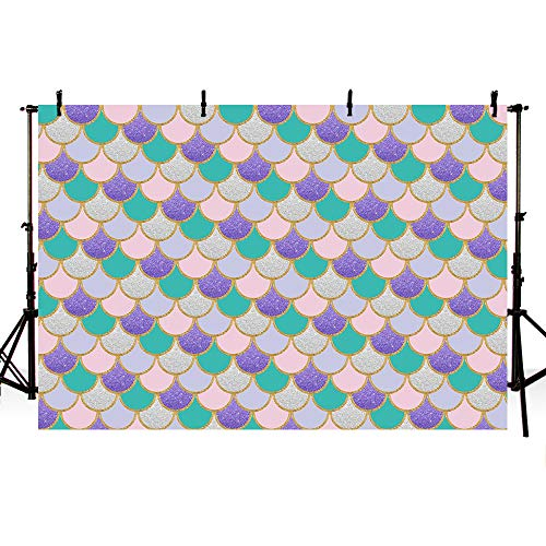 MEHOFOTO Mermaid Theme Photography Backdrop Props Under The Sea Girl Princess Birthday Party Decoration Shell Baby Shower Purple Pink Teal Gold Sparkle Photo Studio Booth Background Pool Banner 7x5ft