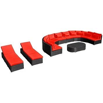 Festnight Bains de Soleil Mobilier de Jardin avec chaises Longues Rouge 8  canapé 3 Table Basse 2743cccd4e9c