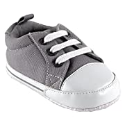 Luvable Friends Basic Solid Color Canvas Sneaker (Infant), Gray, 0-6 Months M US Infant