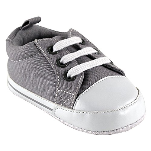 (Luvable Friends Basic Solid Color Canvas Sneaker (Infant), Gray, 6-12 Months M US Infant)