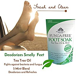Mountainbreeze Honestie Naturals Funga-Free Therapeutic Tea Tree Oil Foot Soak with Epsom Salts and Peppermint Herbal Blend, 14 Ounce