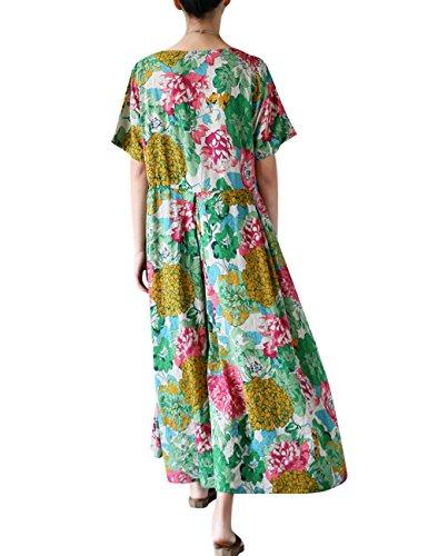 Youlee Mujeres Verano Flor Impreso Manga Corta Vestir Estilo 1