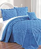 Serenta Faux Fur Quilted Tatami 4 Piece Bedspread Set, Queen, Palace Blue