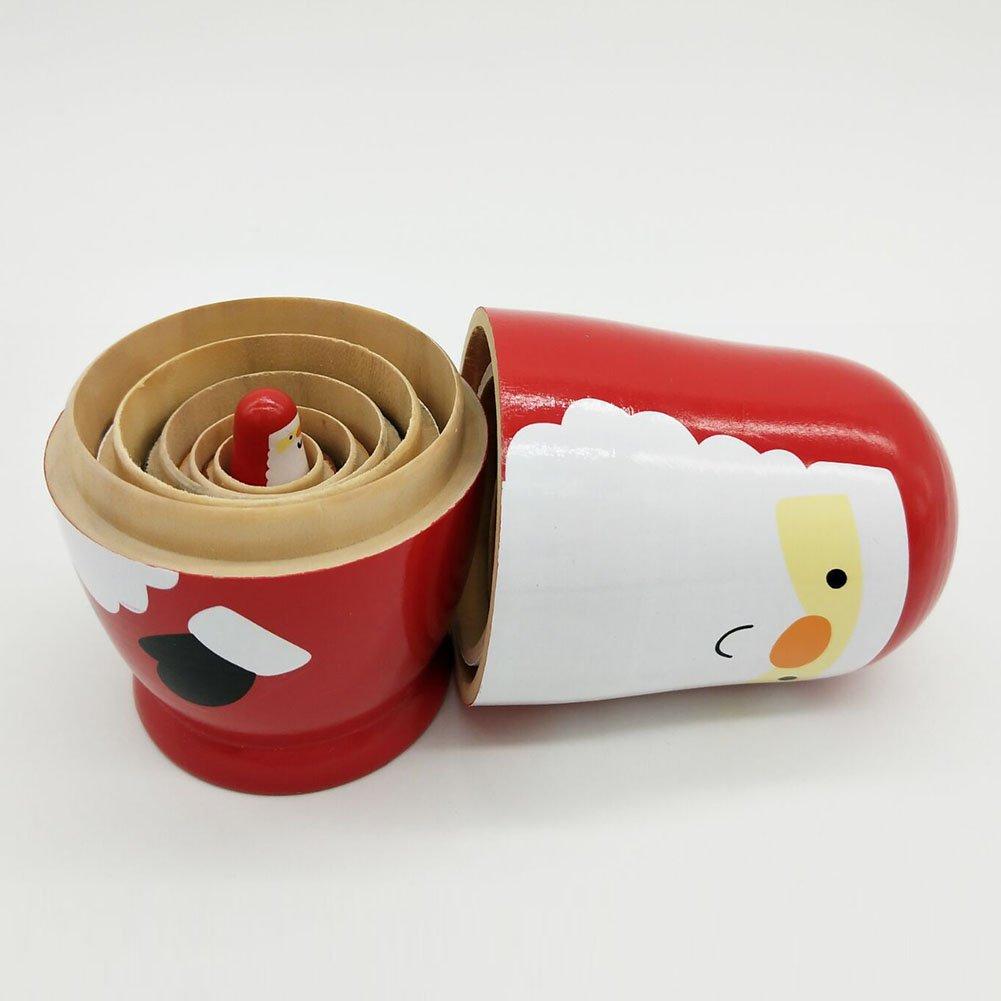 lzndeal 6 poup/é es gigognes Mignon Bois russe Matriochka Animal//Princess//cadeau de No/ë l 14.5cm