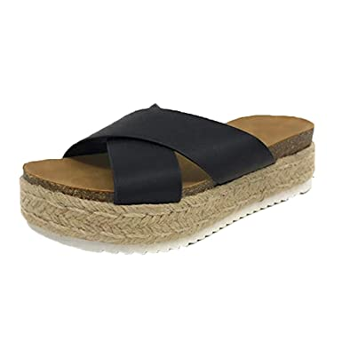 84f550df895bf Amazon.com: MILIMIEYIK Sandals, Women Espadrille Platform Slide ...