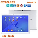 Teclast T10 Hexa [10.1Inches IPS Screen] Tablet PC HD Touchscreen Mic WIFI [ Android 7.0 4+64GB ] Octa Core Dual WIFI SIM Fingerprint OTG Tablet PC (Sliver)