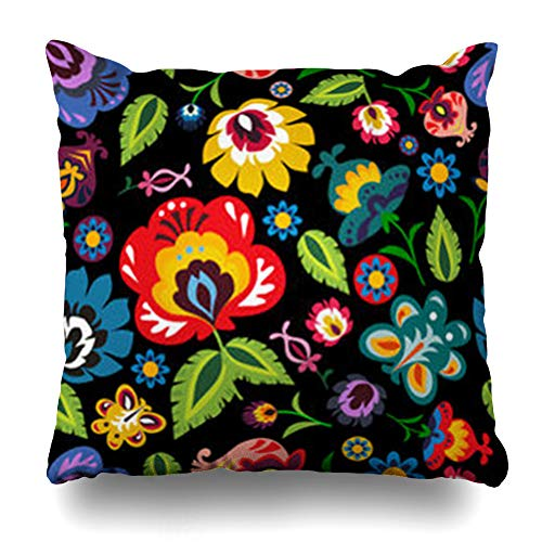 NOWCustom Throw Pillow Cover Square Size 18 x 18 Inches Art Polish Folk Floral Pattern Hungarian History Embroidery Ethnic Green Poland Zippered Pillowcase Home Decor Cushion Case