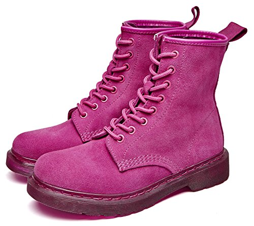 Boots Classic uBeauty Lace Ladies Women's Size Red Shoes Martin Boots Boots Big Leather up Ankle Boots 5wqafX