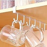 Traceless Nail Free Metal Kitchen Cup Holder Hang Cabinet Shelf Storage Rack Organizer 6 Hooks