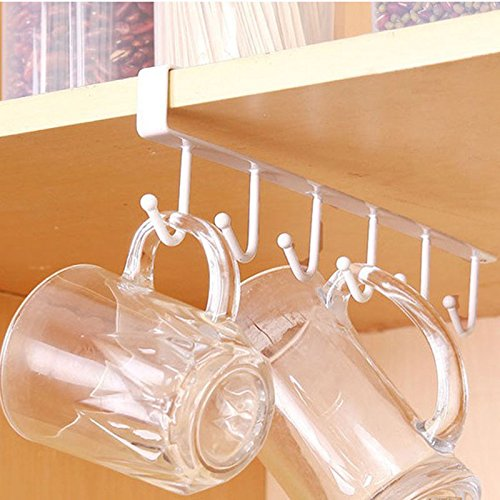 Traceless Nail Free Metal Kitchen Cup Holder Hang Cabinet Shelf Storage Rack Organizer 6 Hooks