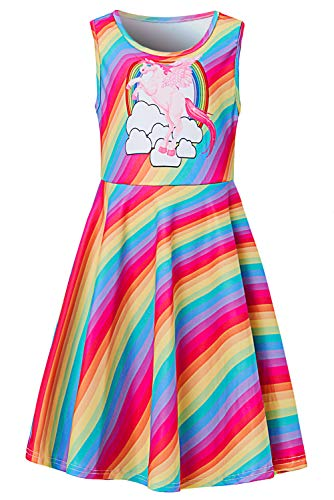 Uideazone Little Girls Casual Dresses Rainbow Unicorn Printed Sleeveless Round Neck Sleevess for Birthday ()