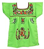 Liliana Cruz Embroidered Mexican Youth Girls Dress (Lime, Size 2)