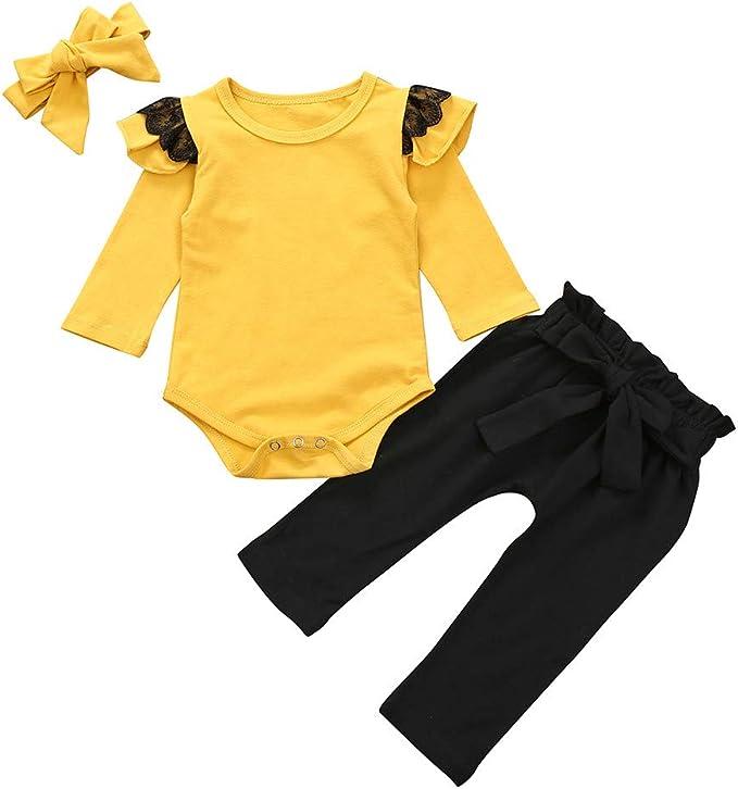 Neugeborenes Baby Mädchen Floral Kleidung Strampler Tops Hosen Stirnband Outfits