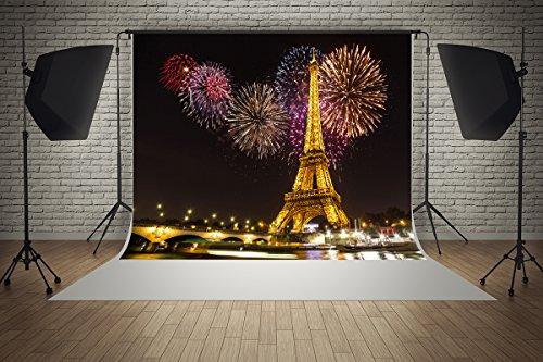 8ft(W) x8ft(H) Microfiber Backgrounds Night Paris Light Eiffel Tower Colorful Fireworks Wedding Party Decorations Photo Backdrop Studio Props