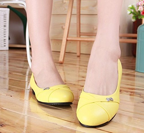 Aisun Women's Comfy Rhinestones Pointed Toe Slip On Loafer Flats Shoes Yellow T6NKHX