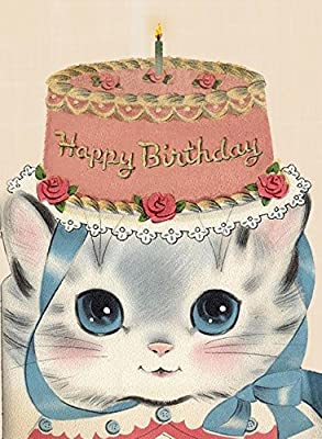 Happy Birthday Cat in a Cake Hat Happy Birthday Greeting Card