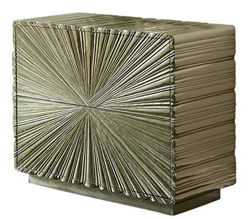 Global Views Spectacular Ribbed Silver Starburst 2 Drawer Chest | Metallic Art Deco Textured