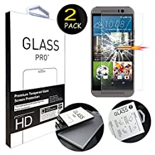 """[2 Pack] HTC M9 Screen Protector, ANGELLA-M HD [Crystal Clear] Tempered Glass Screen Protector for HTC One M9 (5.0"""")"""