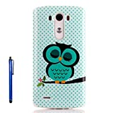 LG G3 Case,Vfunn Premium TPU Gel Scratch Resistant Slim Fit Funny Cartoon Case Cover for LG G3 with 1 Screen Protector 1 Clean Cloth Cleaner 1 Stylus Pen (LG G3) (Sleep Owl)