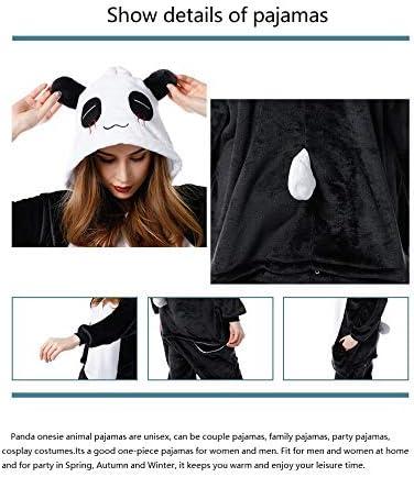 Unisex Adult Panda Pajamas Lounge Wear Plush One Piece Cosplay Animal Onesie Costume