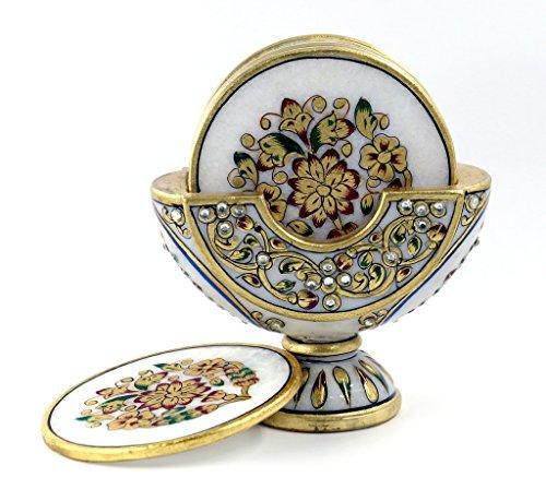 set-of-6-pcs-white-marble-decorative-coaster-meenakari-designe-coaster-with-set-of-6-pcs-by-style-so