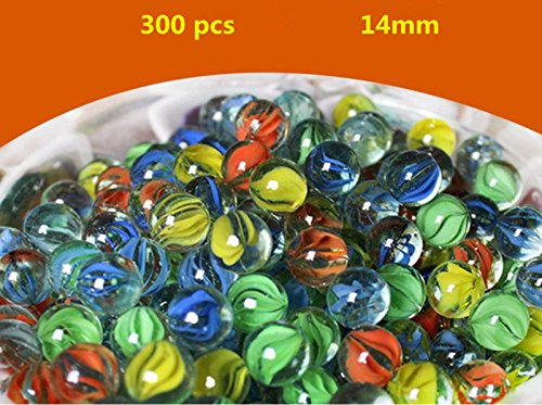 Babycola's Mum 300 Pieces Cats Eyes Glass Marble / Sling Shot Ammo for Children( Random Color ) (Glass Slingshot)