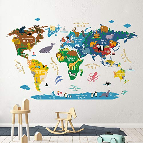 JIAOHJ Wall Stickers,Creative Children's Room Decoration Cartoon Map Stickers Kindergarten Wall Painting Living Room Sofa Stickers-a 70x110cm(28x43inch)