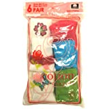 Cotton Casuals Girls 4-6.5 6pk Cuff Applique Socks