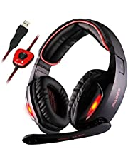 SADES SA902 Gaming Headset Headphone Stereo Surround Over-Ear Headphones, 7.1 Channel USB wired with Mic Volume Control LED Light