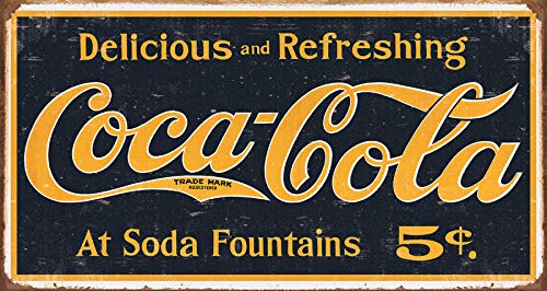 Desperate Enterprises Vintage Coca-Cola 1910 Logo Weathered Tin Sign, 16