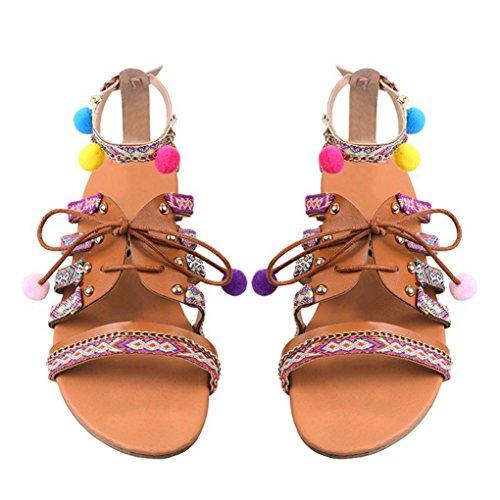 Ouneed® Damen Sandalen , Damen Bohemia Sandalen Gladiator Leder Sandalen Flats Schuhe Pom-Pom Sandalen Mehrfarbig