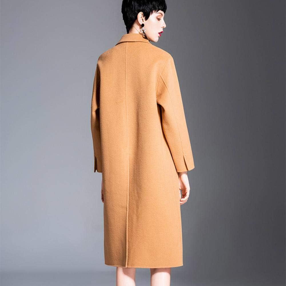 WDAYI Cappotto in Lana da Uomo Double Face in Cashmere Cappotto da Donna in Lana a Sezione Lunga Autunno e Inverno Brown