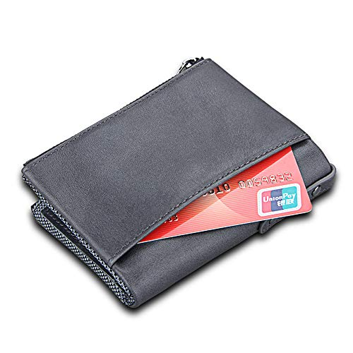 Men Wallet Cowhide Casual Color Classic Purse Wallet Wallet Mens Gift Travel Vintage Card Gray Slot Women Pocket Leather Leisure Crystalzhong Slim Blue Leather Zipper Dual qft6xvfa
