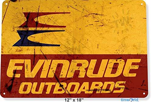 NGFD TIN Sign 8x12 inch Evinrude Outboards Retro Boating Fishing Marina Metal Decor ()