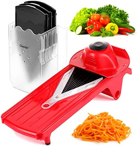 Geedel V-Pro Mandoline Slicer, Adjustable Food/Vegetable Slicer With Interchangeable Blades and Blades Container, Julienne Slicer Grater for All Fruit and Veggies